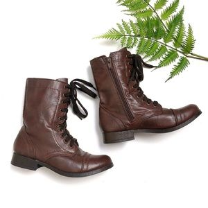 SO Dark Brown Lace Up Combat Boots